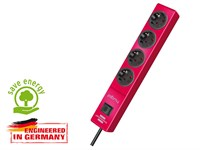 Удлинитель 2 м (4 роз., 3.3 кВт, с/з, выкл., ПВС) красный, Brennenstuhl Hugo! (провод 3х1,5 мм2; сила тока 16А; с/з)