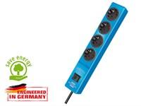 Удлинитель 2м (4 роз., 3.3кВт, с/з, выкл., ПВС) голубой Brennenstuhl Hugo! (провод 3х1,5мм2; сила тока 16А; с/з)