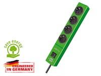 Удлинитель 2м (4 роз., 3.3кВт, с/з, выкл., ПВС) зеленый Brennenstuhl Hugo! (провод 3х1,5мм2; сила тока 16А; с/з)