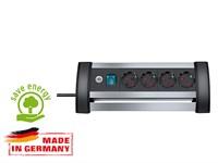 Удлинитель настол. 1,8м (4 роз., 3.3кВт, с/з, выкл., ПВС) алюминиевый Brennenstuhl Premium-Alu-Line (провод 3х1,5мм2; сила тока 16А; с/з)