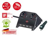 Удлинитель настольный 1.8 м (2 роз., 4 USB порта, 3.3 кВт, с/з, ПВС) Brennenstuhl Desktop-Power-Plus (черный, провод 3х1,5 мм2; сила тока 16А; с/з)