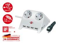Удлинитель настольный 1.8 м (2 роз., 4 USB порта, 3.3 кВт, с/з, ПВС) Brennenstuhl Desktop-Power-Plus (белый, провод 3х1,5 мм2; сила тока 16А; с/з)