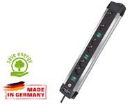Удлинитель 3 м (4 роз., 3.3 кВт, с/з, 3 выкл., ПВС) Brennenstuhl Premium-Alu-Line Technics (провод 3х1,5 мм2; сила тока 16А; с/з)