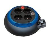 Удлинитель 3м на барабане (4 роз., 3.3кВт, с/з, ПВС) черно-синий Brennenstuhl Comfort-Line (провод 3х1,5мм2; сила тока 16А; с/з)