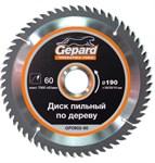 Диск пильный 190х30/20/16 мм 60 зуб. по дереву GEPARD (твердоспл. зуб)