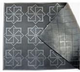 Коврик придверный с геометрическим узором из вулканизированной непористой резины черный, 580х365 мм, YPgroup