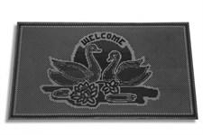 """Коврик придверный """"Welcome лебеди"""" из вулканизированной непористой резины черный, 750х450 мм, YPgroup"""