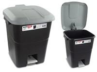 Контейнер для мусора пластик. 50 л с педалью (серая крышка), TAYG