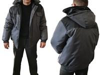 """Куртка утепленная с капюшоном """"Универсал"""" все размеры (серо-черная, ткань """"Оксфорд"""")"""