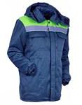 """Куртка утепленная с капюшоном """"Эксперт Люкс"""" все размеры (синяя- лимон)"""