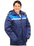 Куртка утепленная с капюшоном все размеры (синяя-василек)