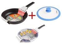 Набор: сковорода 24х5,5 см для любых типов плит, серия Expert Grip Induction + крышка стеклянная 24 см, PERFECTO LINEA