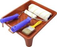 Набор валик с ручкой, п/акрил, 18см, 10см, кисть 50мм, ванночка малярная 24х32см LIDER (набор)