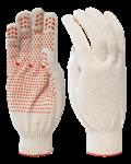 Перчатки рабочие х/б с ПВХ-точкой, 10 класс вязки, 5-и ниточные, 180 текс, белые (упак/10 пар)