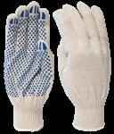Перчатки рабочие х/б с ПВХ-точкой, 13 кл. вязки, 90 текс, белые, КС607 (упак/10пар)