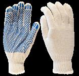 Перчатки рабочие х/б с ПВХ-точкой, 7,5 кл. вязки, 150 текс, белые, КС202 (упак/10пар)