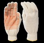 Перчатки рабочие х/б с ПВХ-точкой, 7,5 класс вязки, 5-и ниточные, 220 текс, белые (упак/10пар)
