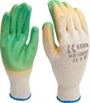 Перчатки рабочие х/б, латекс двойной, 10 кл.вязки, разм.9, зеленые KERN (пара)
