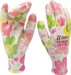 Перчатки садовые п/эстер, прозрачн.нитриловое покр., 13 кл.вязки, разм.9, цветные KERN (пара)