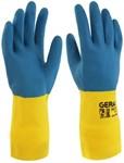 Перчатки технические латекс/неопрен, КЩС тип 2, размер 8, желто-синие GERAL (пара)