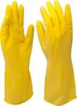 Перчатки хозяйственные, латексные, х/б напыление, разм.L, желтые KERN (упак/12пар)
