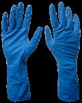 Перчатки латексные тонкие, неопудренные, повыш. прочности, разм. L, синие, Униксфарм (упак/100 шт)