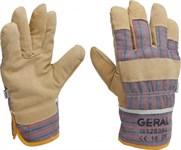 Перчатки рабочие кожа, х/б верх и манжета, утепленные, разм.10, полоска GERAL (упак/5пар)