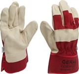 Перчатки рабочие кожа, х/б верх, частич.подкладка, разм.10, манж:крага, красные GERAL (пара)