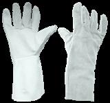 Перчатки-краги пятипалые, спилок, с кедером, 9 р-р,  серые (пара)