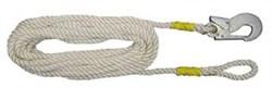Удерживающий строп В, полиамидный канат 10м с монтажным карабином и крепежной петлей