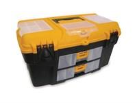 """Ящик для инструмента пластмассовый УРАН 53х27,5х29 см (21"""") с двумя консолями и секциями"""