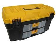 """Ящик для инструмента пластмассовый УРАН 53х27,5х29 см (21"""") с двумя консолями"""