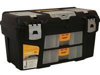 """Ящик для инструмента пластмассовый ГЕФЕСТ 53х27,5х29 см (21"""") мет. замки с 2 консолями и секциями"""