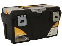 """Ящик для инструмента пластмассовый ГЕФЕСТ 43х23,5х25 см (18"""") мет. замки, с коробками"""