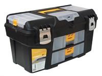 """Ящик для инструмента пластмассовый ГЕФЕСТ 53х27,5х29 см (21"""") мет. замки, с 2 консолями и коробками"""