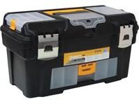 """Ящик для инструмента пластмассовый ГЕФЕСТ 43х23,5х25 см (18"""") мет. замки, с консолью и коробками"""