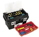 Ящик для инструмента пластмассовый 45x28,5x25 см со встроенным органайзером и лотком (алюм.рукоятка, мет. замки) TAYG