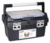 Ящик для инструмента пластмассовый 45x28,5x25 см с лотком и органайзером (алюм.рукоятка, мет. замки) TAYG