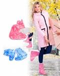 Чехлы грязезащитные для женской обуви - сапожки, размер M, цвет голубой