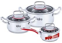 Набор посуды LARA LR02-108 серия Prima (кастр. 2.0л + 3,7л + сотейник 1,5л)