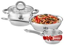 Набор посуды LR02-110 серия Bell (кастрюля 4.7л, сковорода 24см +сотейник 1.7л)