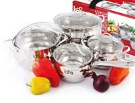 Набор посуды LARA LR02-87 серия Apple (сотейник 2.0л, кастрюли: 2.0л, 3.6л, 6.1л)