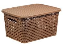 Ящик для хранения с крышкой РОТАНГ 280х185х126мм (беж.) (IDEA)