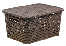 Ящик для хранения с крышкой РОТАНГ 280х185х126 мм (коричн.) IDEA