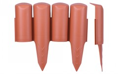 Бордюр пластиковый (терракот, 5 шт, общая длина 125 см, 23x25 см) FINLAND Pro-Garden