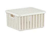 Ящик для хранения с крышкой ВЯЗАНИЕ 85х148х170мм (белый) (IDEA)