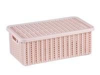 Ящик для хранения с крышкой ВЯЗАНИЕ 95x150x270мм (чайная роза) (IDEA)