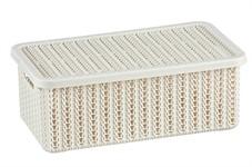 Ящик для хранения с крышкой ВЯЗАНИЕ 95x150x270мм (белый) (IDEA)