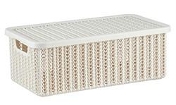 Ящик для хранения с крышкой ВЯЗАНИЕ 125x195x350мм (белый) (IDEA)