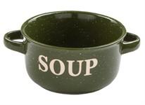 Миска керамическая, 134 мм, Для супа, зеленая, PERFECTO LINEA